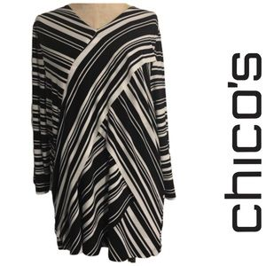 Chico's asymmetrical Chevron Print Top Size 3
